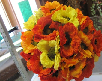 Orange, yellow and red poppy wedding bouquets