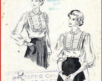 40s blouse sewing pattern,  rare sewing pattern, Vintage sewing pattern, wartime sewing pattern, 1940s blouse pattern, vintage pattern,Vog