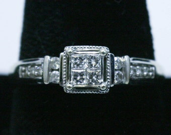 Square illusion head diamond engagement ring in white gold size 7