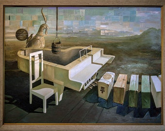 THE PIANO - Oil on canvas, 88x119 cm, wood frame