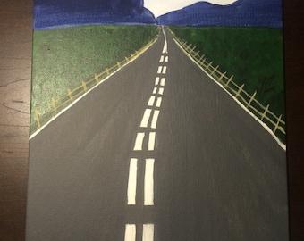 "Highway to Somewhere, Original Acrylic Painting, 9"" x 12"""