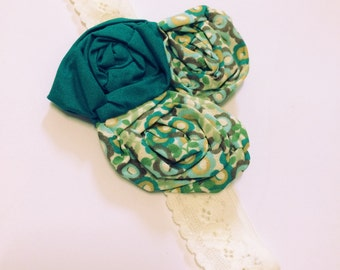 AQUA & GREEN Floral Lace Headband, size 0 -6months