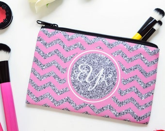 monogram cosmetic bag, monogram cosmetic bag makeup, bridal party gifts
