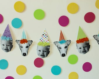 Party Hat Photo Face Birthday Banner