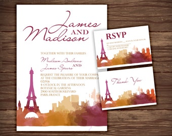 Paris: Wedding Invitation Suite;     Print at Home Wedding Invitations
