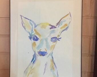 Oh Deer- original watercolor - not a print