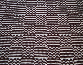 Crocheted Afghan, Chevron and Stripes