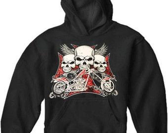 """Biker Hoodie - """"Flying Skulls of Death"""" Motorcycle Sweatshirt Adult Mens Hoodies (Black) #B333"""