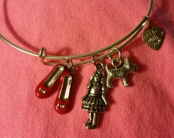 Dorothy, Toto and The Ruby Slippers Expandable Bracelet