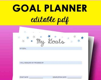 2018 Goal Planner Printable, Goal Planner 2018, Printable Goals Setting, Habit Tracker, Editable Workout Plan Letter Size, Instant Download