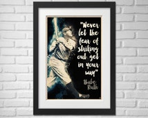 Babe Ruth Illustration / Babe Ruth Poster / Babe Ruth / Yankees / #3 / Great Bambino / Sultan of Swat / King of Terror / Colossus of Clout