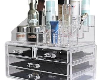 Jewelry and Cosmetic Storage Two-Piece Acrylic Makeup Organizer