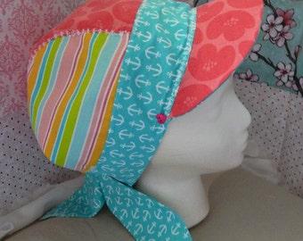 Bandana Kerchief Visor Head Scarf BoHo Handmade Coral