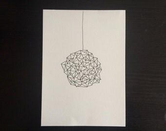 Circle Crystal // Minimalist Line Drawing Illustration