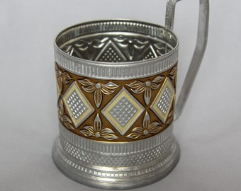 Vintage Soviet tea glass holder podstakannik theme of diamonds