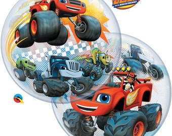 Blaze and the monster machines, blaze balloon,  22 inch bubble balloon plastic party favors