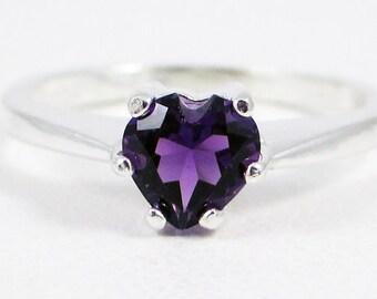 Amethyst Heart Ring Sterling Silver