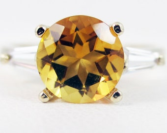 Golden Citrine Baguette Accented 14k Yellow Gold Ring