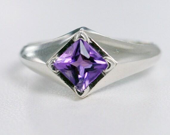 Amethyst Princess Cut Ring Sterling Silver February By Aerluna