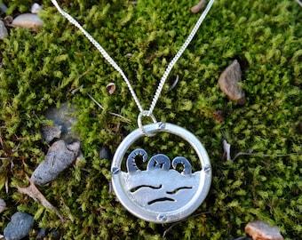 Silver kraken necklace, Silver octopus necklace, Sterling silver necklace Octopus necklace Porthole necklace Kraken necklace Octopus jewelry