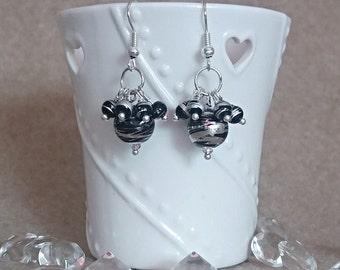 Black cluster bead earrings