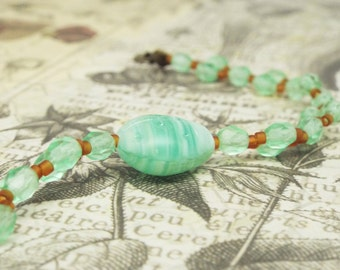 Fly Away Home - Ladybug thin stacking bracelet with mint crystals