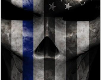Police Flag Skull Blue Line Cornhole Wrap Bag Toss Decal Baggo Skin Sticker Wraps