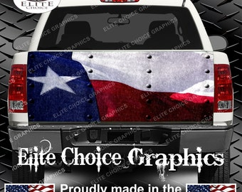 Texas Flag Rivets Truck Tailgate Wrap Vinyl Graphic Decal Sticker Wrap