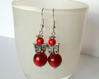 Red angel Butterfly earrings