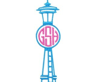 Seattle Space Needle Monogram Embroidery Design