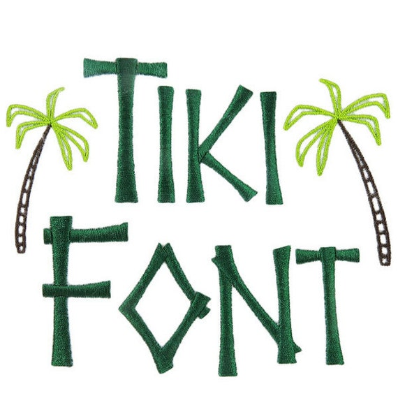 Kona tiki font pack embroidery fonts by yetiemb on etsy