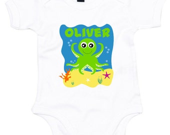 "personalised ""octopus on the beach"" baby vest/body suit"