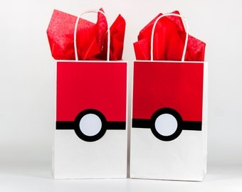 Pokemon Party Bags - Pokemon Pokeball Party Bags - Pokemon Birthday - Pokemon Party Decoration - Pokemon Gift Bags - Pokemon Bags Set Of 12