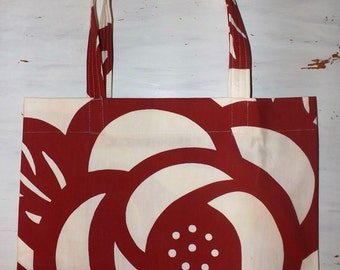 Large Market Bag - Red Flower Market Tote, Market tote bag, Large market tote, red market tote bag