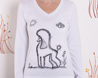 Poodle illustration long sleeves t-shirt