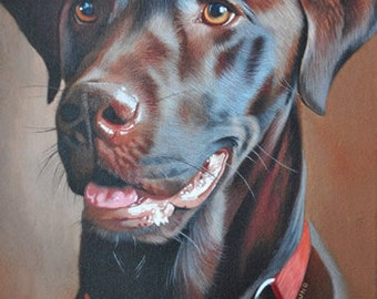Pet Portrait in oil on canvas of Labrador
