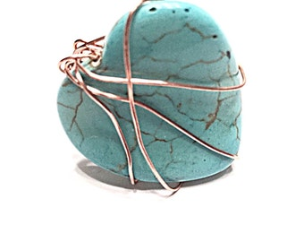 Simulated Turquoise Ring ~ Wrapped in Copper Wire