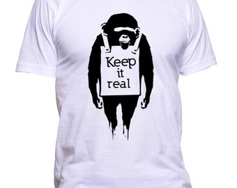 Keep It Real Monkey Funny T-Shirt Adult 100% Cotton Best Instagram Look Tee