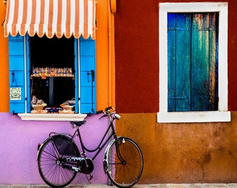 Burano Italy Photo, Bike Burano, Colorful Building, Windows Awning, Textured Old Window, Blue Shutters, Burano Wall Decor