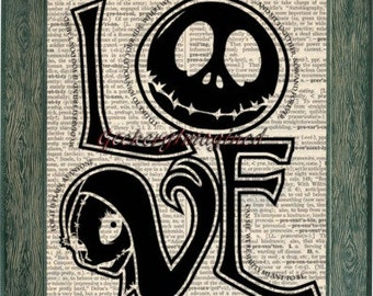 Jack Skellington and Sally art print on upcycled vintage dictionary page 8x10, nightmare before christmas, jack and sally, love print