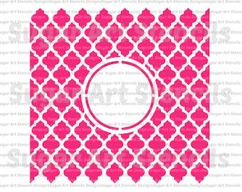 cookie stencil Monogram quatrefoil lattice  NB30030