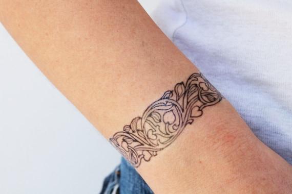 2 bracelet temporary tattoos / art nouveau tattoo / flowers temporary tattoo / floral temporary tattoo / wrist tattoo / ankle tattoo / boho