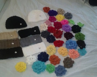 Crochet headbands and beanies with detachable flowers