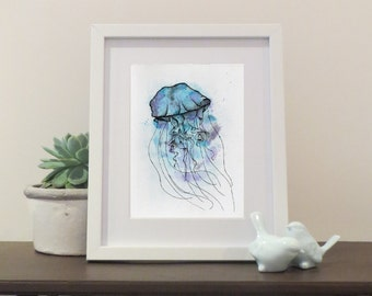 Handrawn Jellyfish (24.5 x 16.5 cm)