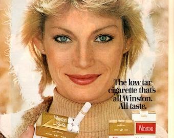 1970s Winston lights cigarettes vintage magazine ad with a woman spokesperson wall decor
