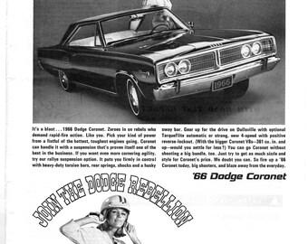 1966 Dodge Coronet B/W vintage magazine ad
