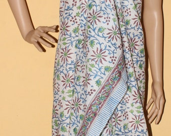 Pario in Light Classic floral hand block printed cotton sarong/Beachwrap