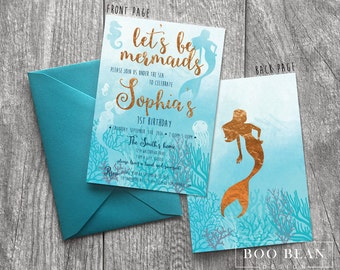 Mermaid Birthday Invitation | Printable Invitation| Mermaid Invitation | Mermaid Party | Under the sea | mermaid Party Invitation swim party