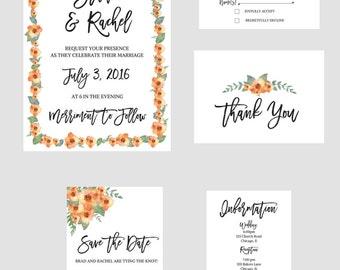 Printable Wedding Invitation Package - Tangerine