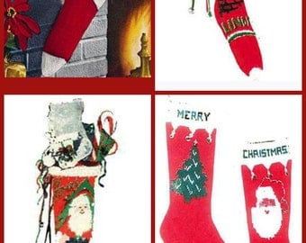 knitted christmas stockings knitting pattern pdf instant download - Christmas Stockings